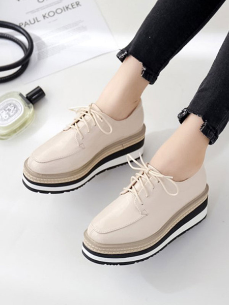 Milanoo Women Flatform Oxfords Apricot Round Toe PU Leather Lace Up Casual Shoes