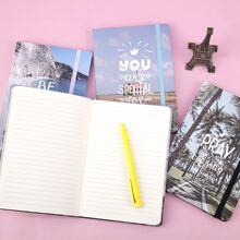 1 Stueck Zufaelliges Notizbuch mit Landschaft Muster