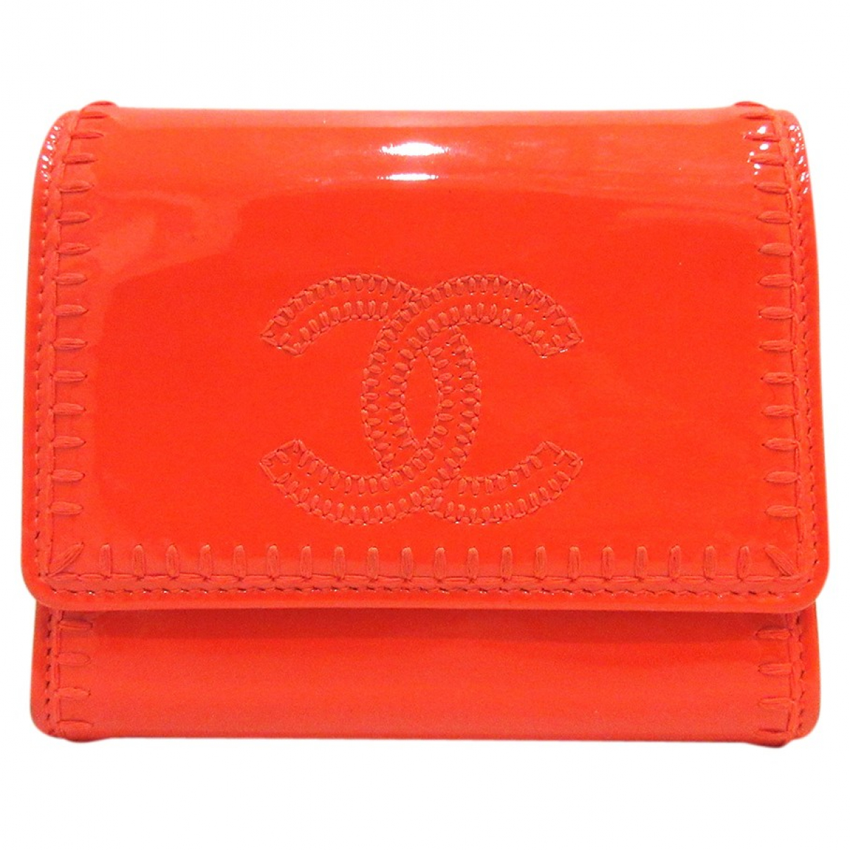 Chanel \N Portemonnaie in  Orange Lackleder