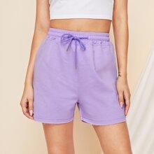 Drawstring High-Rise Waist Shorts
