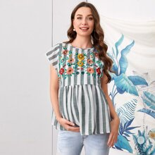 Maternity Striped Embroidered Flower Peplum Top