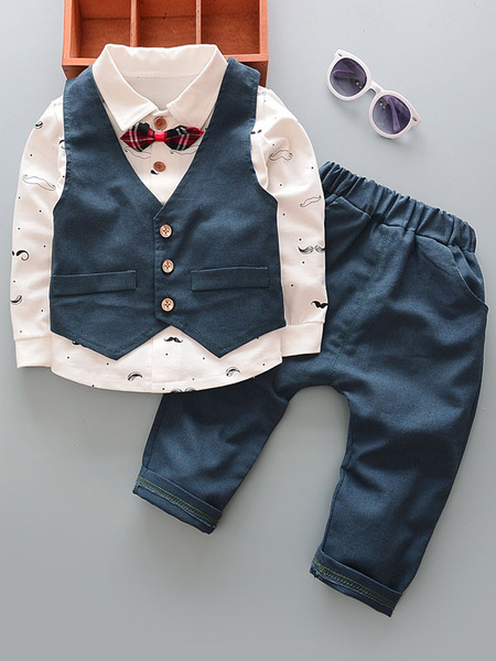Milanoo Ring Bearer Outfit Boys Wedding Burgundy Pants Shirts Waistcoat Kids Formal Wear 3 Piece