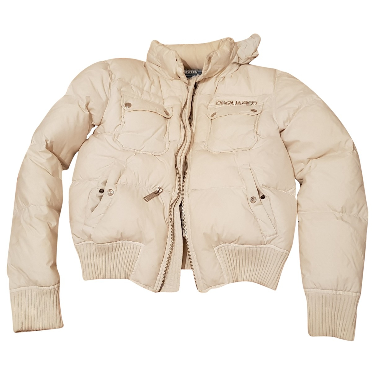 Dsquared2 \N White Leather jacket for Women 50-52 IT