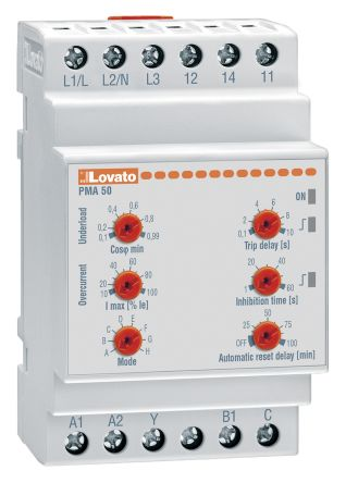 Lovato Current Monitoring Relay With SPDT Contacts, 440 → 480 V ac Supply Voltage, 1, 3 Phase