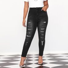 Plus Ripped Detail Skinny Jeans