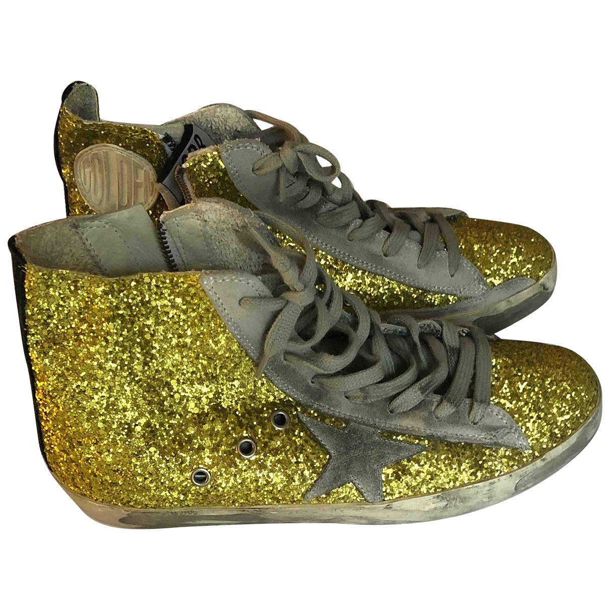Golden Goose - Baskets Francy pour femme en a paillettes - dore