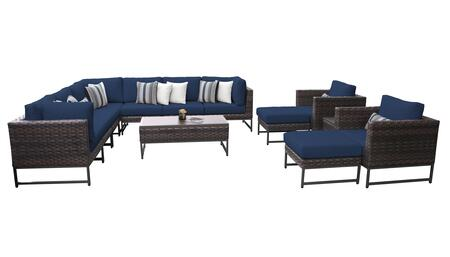 Barcelona BARCELONA-13a-BRN-NAVY 13-Piece Patio Set 13a with 3 Corner Chairs  2 Club Chairs  4 Armless Chairs  1 Coffee Table  2 Ottomans and 1 End