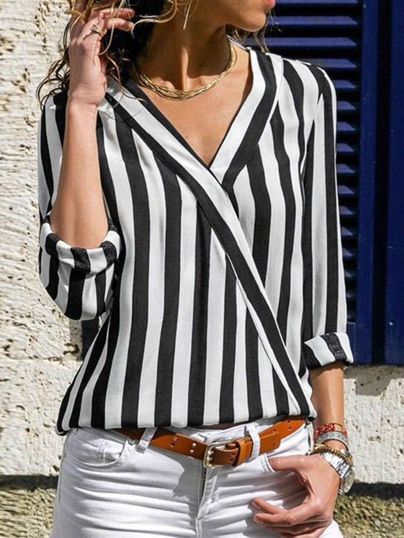 Ericdress V-Neck Patchwork Stripe Mid-Length Blouse