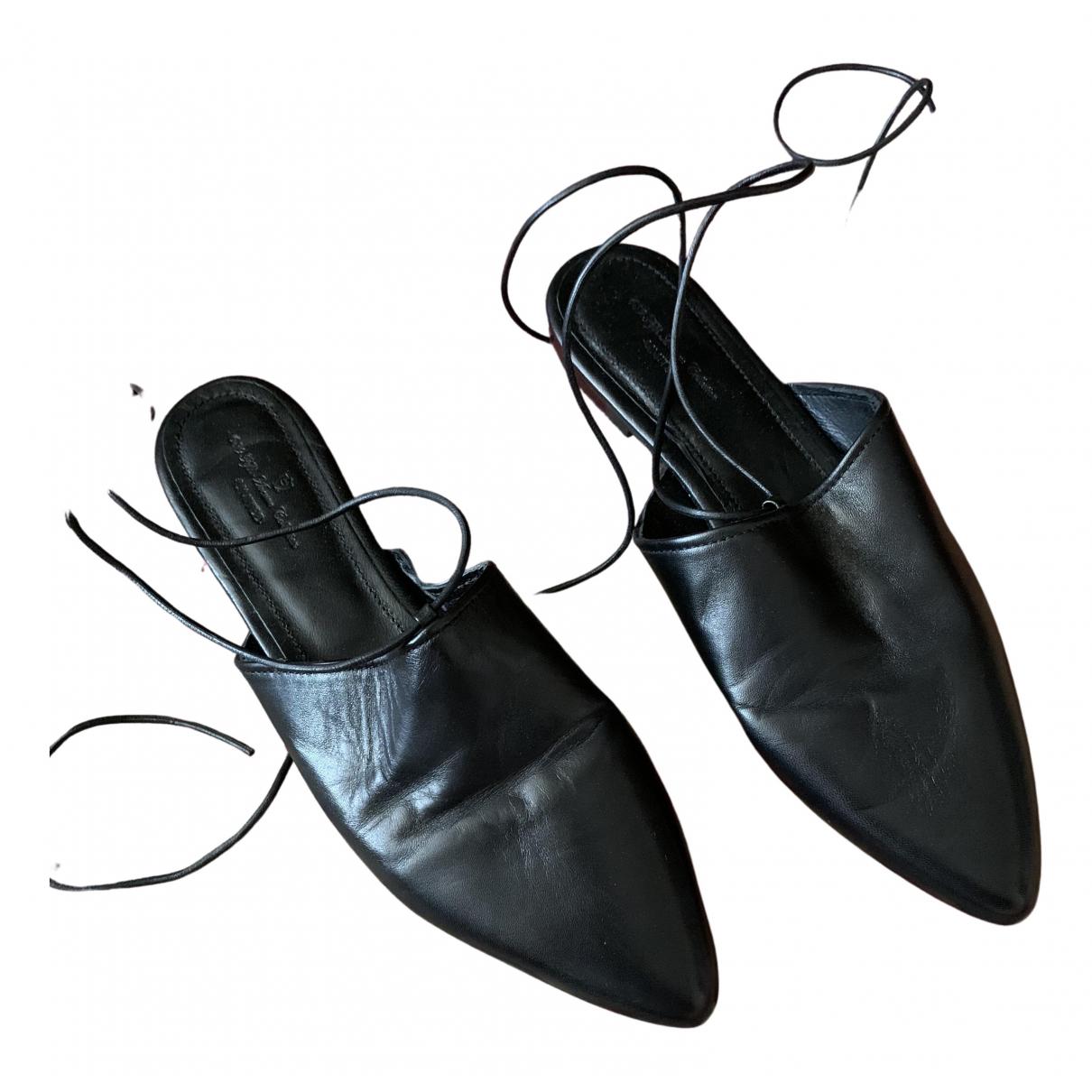 Massimo Dutti - Ballerines   pour femme en fourrure - noir