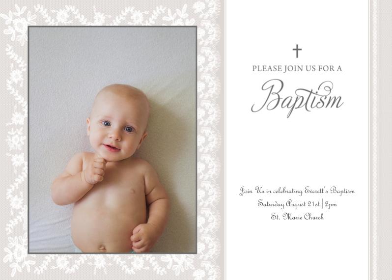 Baptism Invitations 5x7 Cards, Premium Cardstock 120lb, Card & Stationery -Baptism Invitation