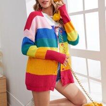 Rainbow Block Letter Embroidery Cardigan