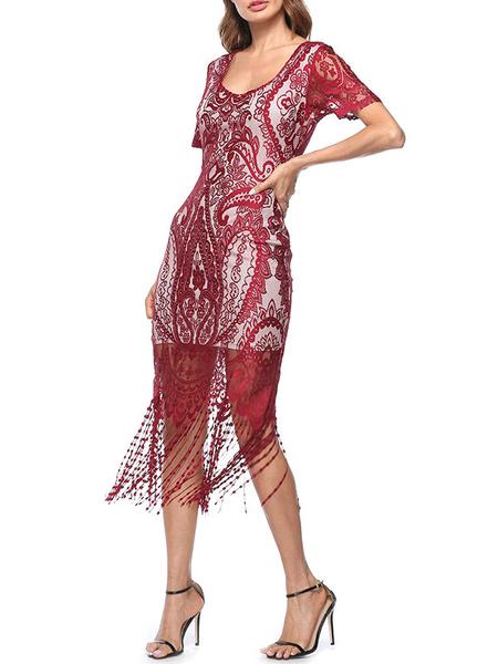 Milanoo 1920s Fashion Style Flapper Dresses Lace Fringe Great Gatsby Costume Women's Blue Retro 20s party Dress