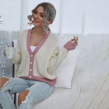 Colorblock Button Front Drop Shoulder Cardigan