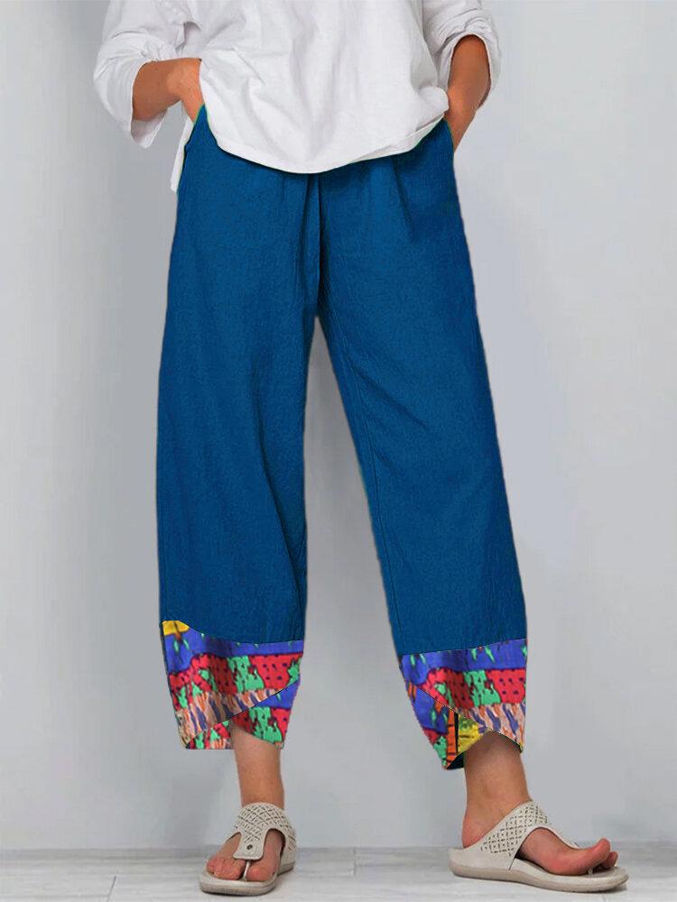 Women Vintage Print PatchedElastic Waist Casual Pant