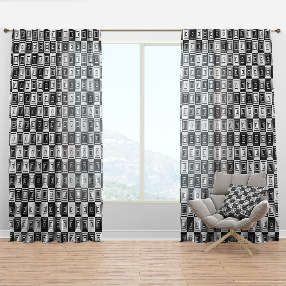 Designart 'Monochrome Geometric Pattern XI' Mid-Century Modern Curtain Panel (50 in. wide x 84 in. high - 1 Panel)