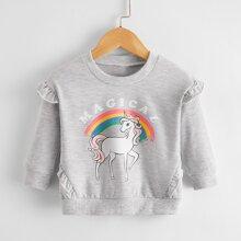 Baby Girl Unicorn And Letter Graphic Ruffle Sweatshirt