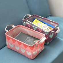 2pcs Heart Print Storage Basket
