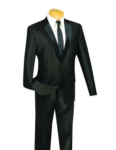 Mens Black 2 Buttons Shiny Slim Fit Suit Tuxedo Flat Front Pant