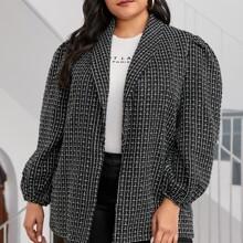 Tweed Mantel mit Schalkragen und Laternenaermeln