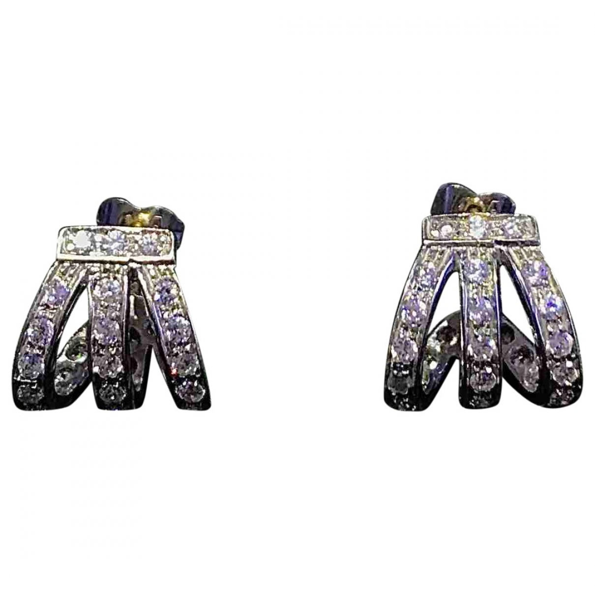 Non Signe / Unsigned Art Deco OhrRing in  Weiss Weissgold