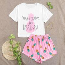Schlafanzug Set mit Buchstaben & Ananas Muster