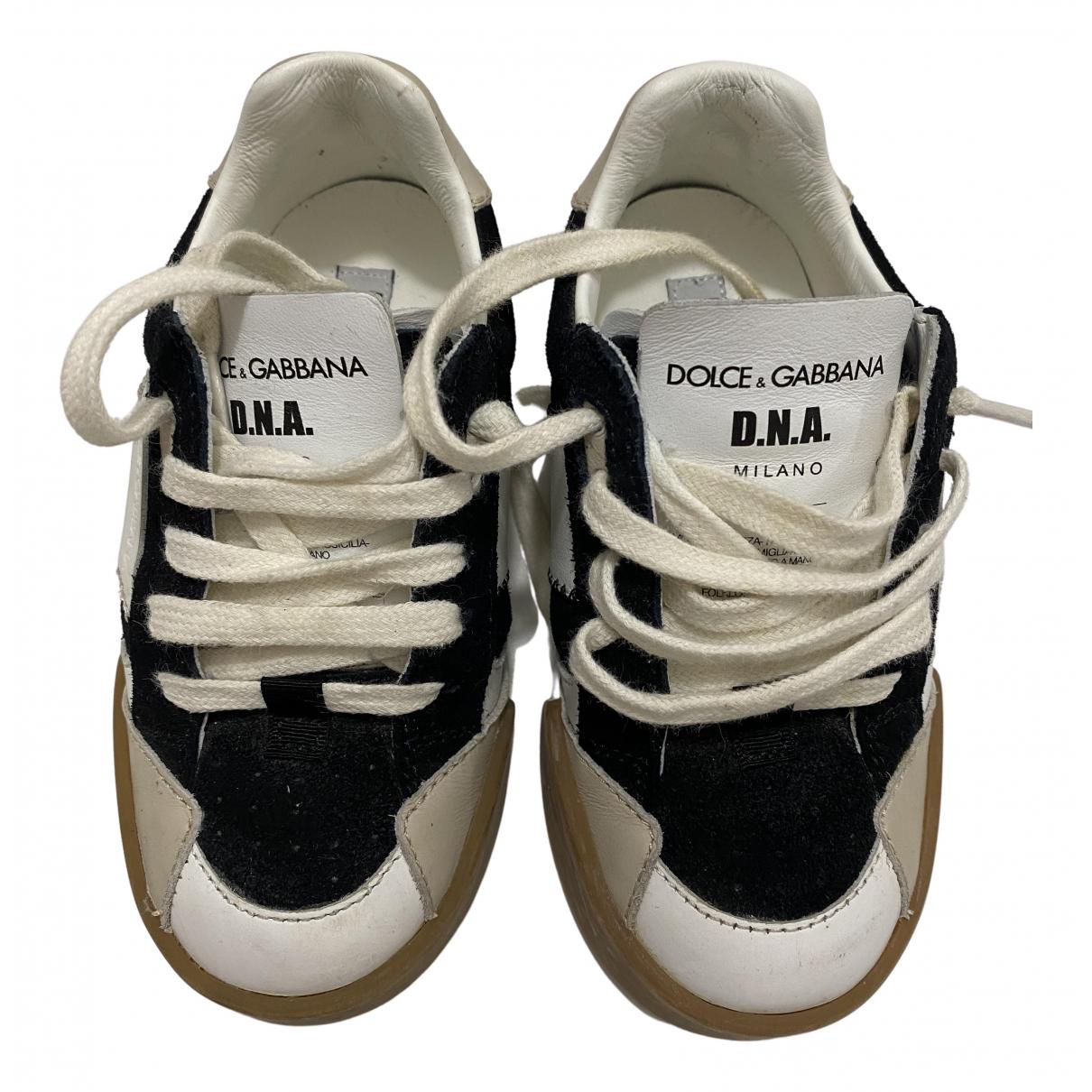 Dolce & Gabbana - Baskets   pour enfant en cuir - noir