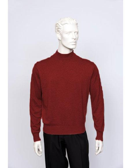 Mens Silk Blend Brighton Mens Long Sleeve Mock Neck Fine Gauge Sweater