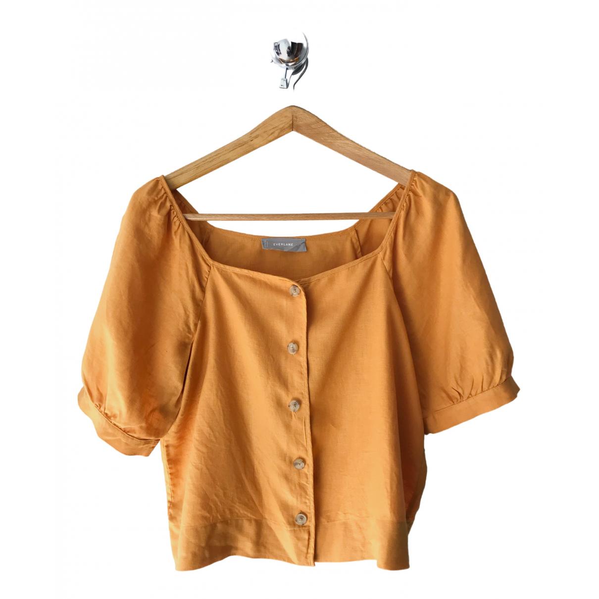 Everlane - Top   pour femme en lin - jaune