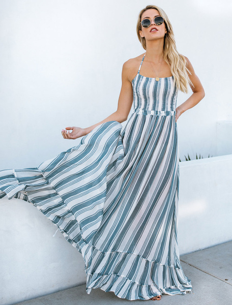 Milanoo Vestido largo Azul celeste claro sin mangas de poliester con nudos con dibujo de banda muy escotado por detras con escote halter estilo modern