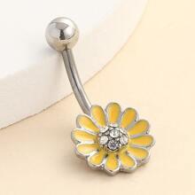 Rhinestone Decor Flower Shaped Belly Ring