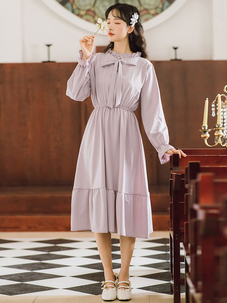 Milanoo Academic Lolita OP Dress Lavender Long Sleeve Polyester Lolita One Piece Dresses