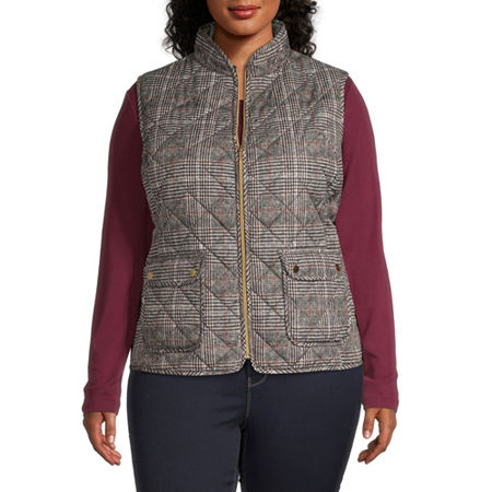 St. John's Bay Quilted Vest-Plus, 3x , Brown