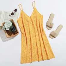 Cami Kleid mit V-Kragen und Bluemchen Muster