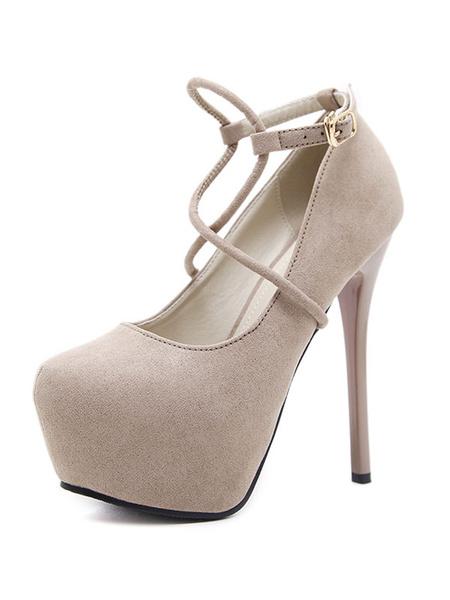 Milanoo Tacones de aguja negro plataforma de gamuza almendra cruzada tacon de aguja zapatos atractivos para las mujeres