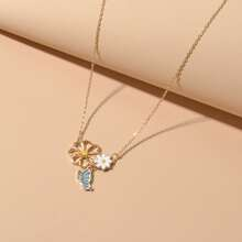 Floral & Butterfly Charm Necklace
