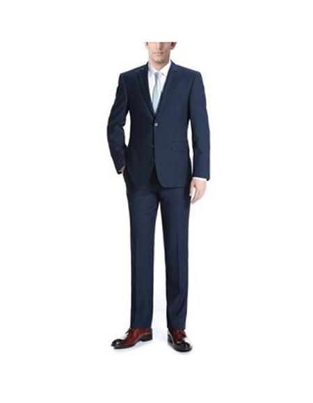 Mens Navy Blue Notch lapels Polyester/Viscose Slim Fit 2-Piece Suit