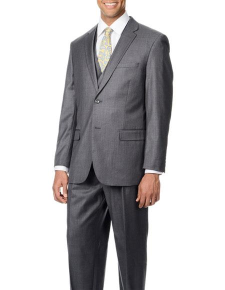 Caravelli Mens Single Breasted 2 Button Grey Lined 3piece Vested Suit