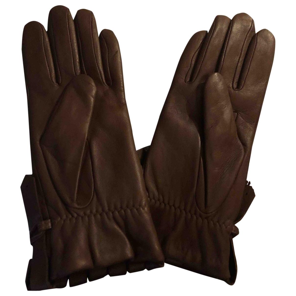 Ralph Lauren Purple Label - Gants   pour femme en cuir - marron