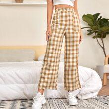 Hose mit hoher Taille und Karo Muster