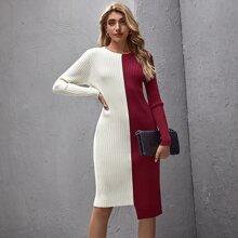 Two Tone Stepped Hem Sweater Dress