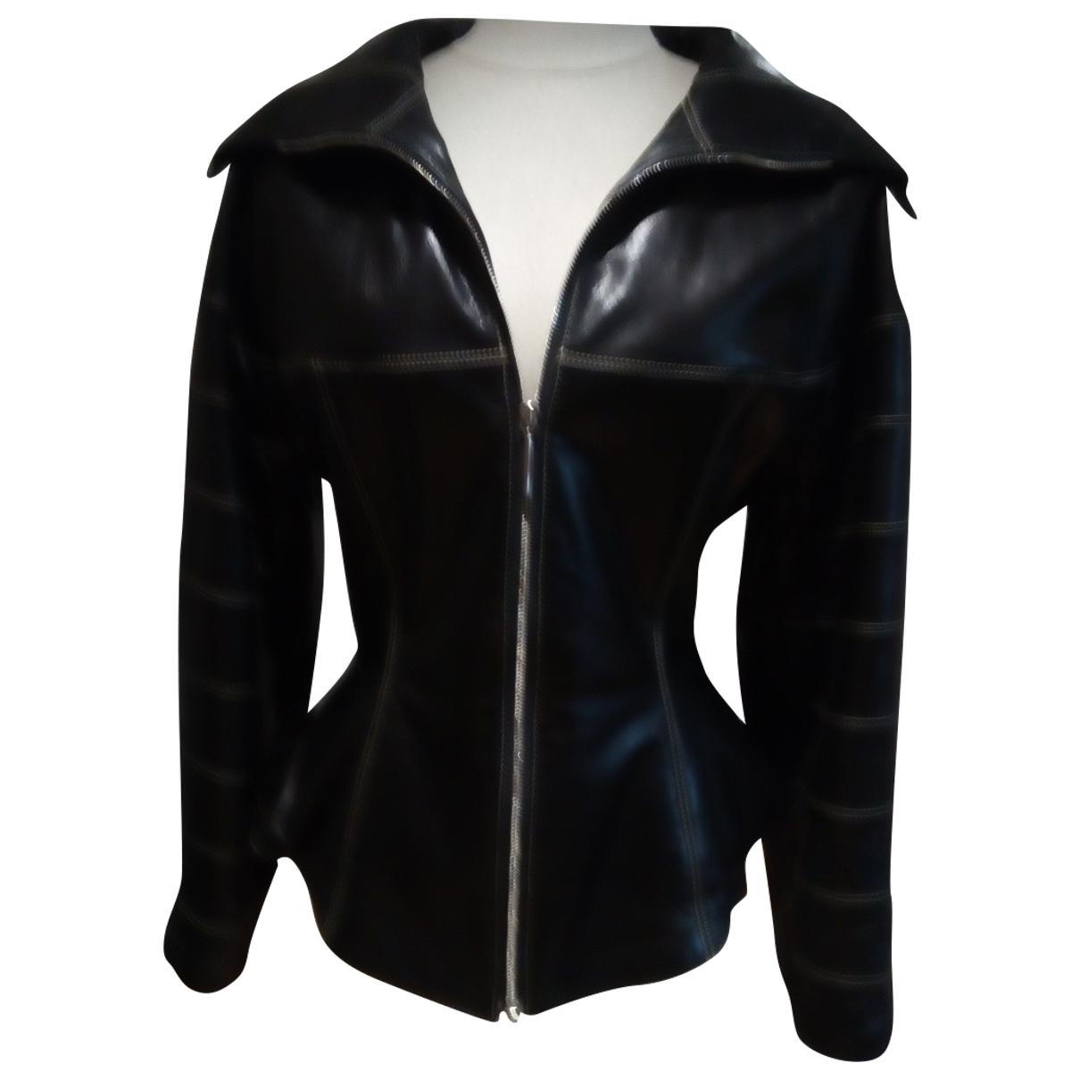 Claude Montana - Veste   pour femme en cuir - noir
