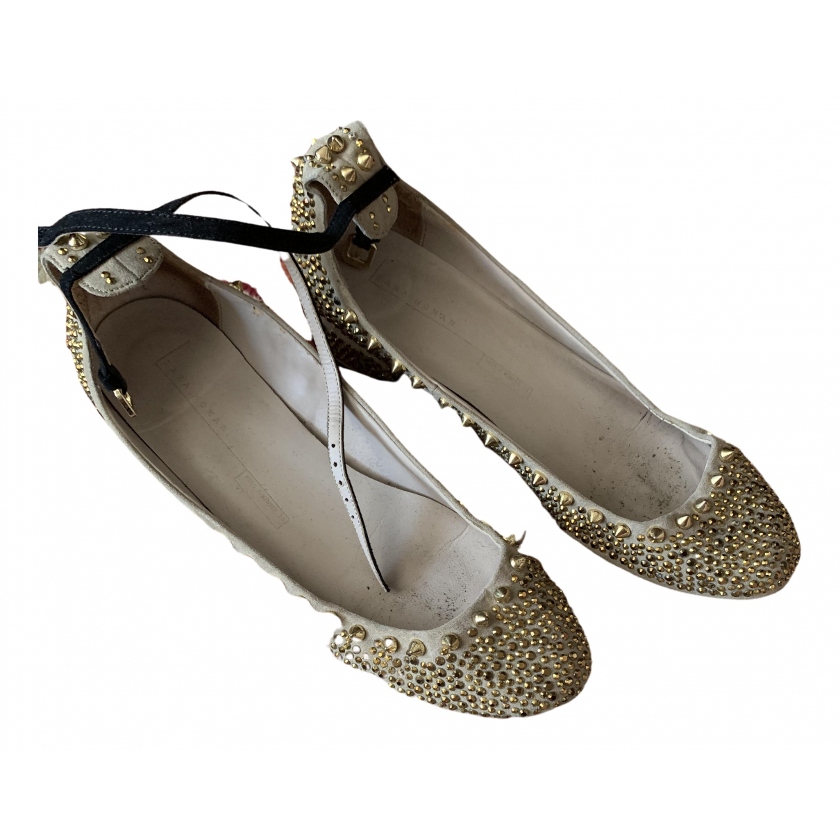 Zara \N Ballerinas in  Beige Mit Pailletten