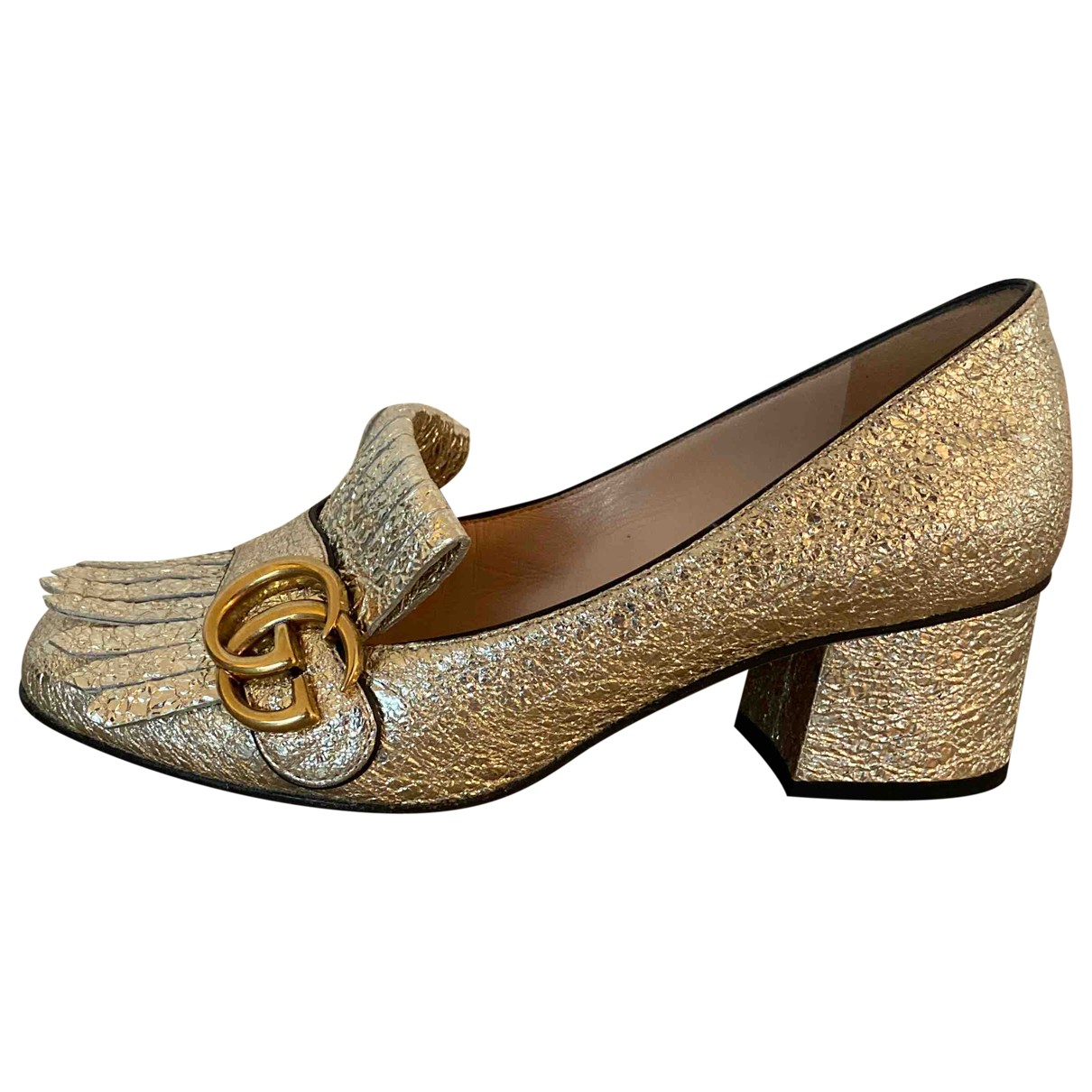 Gucci Marmont Gold Leather Flats for Women 35.5 IT