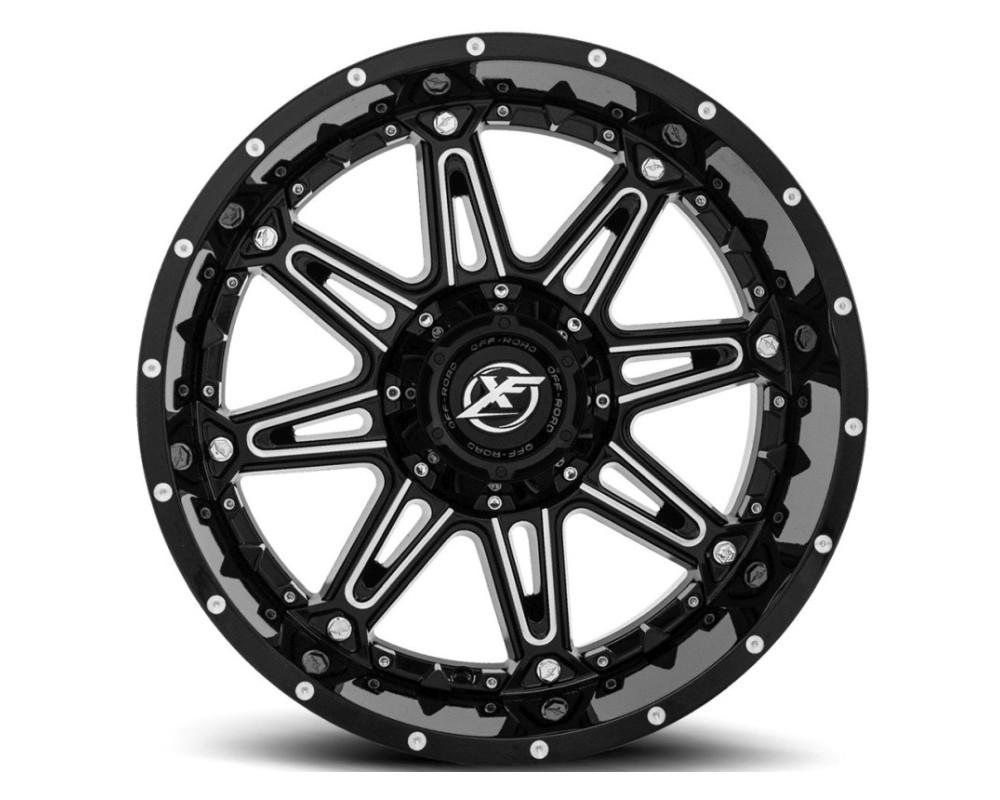 XF Off-Road XF-217 Wheel 20x12 5x139.7|5x150 -44mm Gloss Black Milled w/ Black Insert