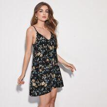 Cami Kleid mit botanischem Muster