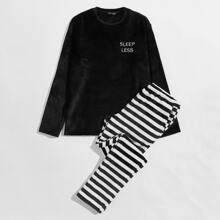 Guys Slogan Embroidered Top and Striped Pants PJ Set
