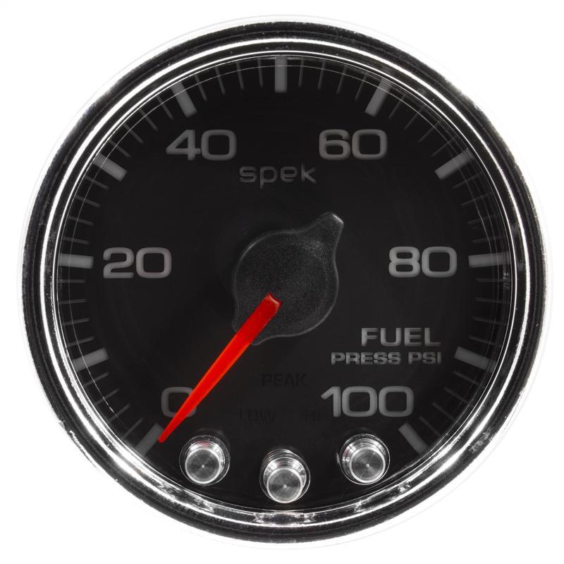 AutoMeter GAUGE; FUEL PRESS; 2 1/16in.; 100PSI; STEPPER MOTOR W/PEAK/WARN; BLK/CHRM; SPEK