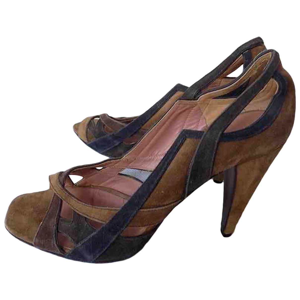 Miu Miu - Sandales   pour femme en suede - marron