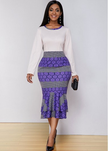 Cocktail Party Dress Printed Long Sleeve Round Neck Mermaid Dress - XS