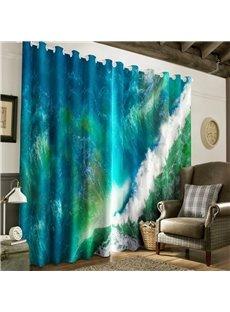 3D Dark Green Rolling Seas Printed Room Darken Heat Insulation Window Drapes